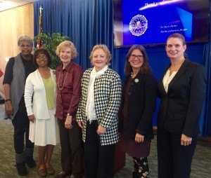 From left to right: League of Women Voters Co-President, Alice Fried College of Alameda President, Dr. Joi Lin Blake AAUW Chapter President, Patti Heimburger District Attorney, Nancy O'Malley City of Alameda Mayor, Trish Herrera Spencer FBI Agent, Marty Parker