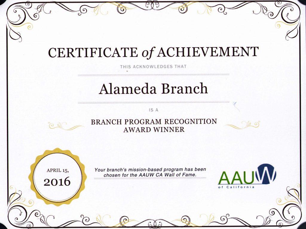 AAUW Alameda Certificate 2016