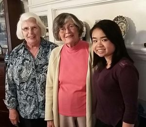 Gertrude Woods, AAUW Golden Member (center), with GIIC Author Julie Vu, GIIC and AAUW Mentor Honora Murphy.