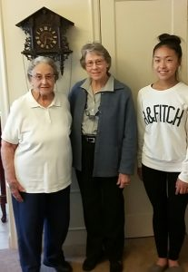 Joyce Denyven, (left) AAUW Golden Member, with AAUW Mentor Betty Hatch and Author Ellerbe Whang, GIIC.